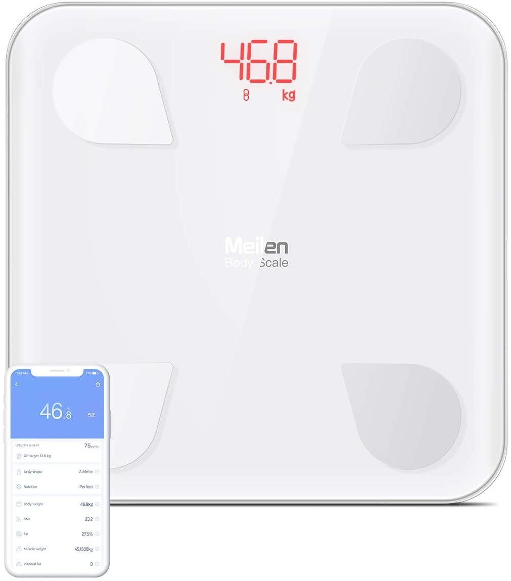 Smart Weight Scale With Android & IOS App- Body Fat Composition Analyzer BMI With Bluetooth Connectivity (Meilen WS-180)